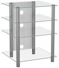 VCM Bilus HiFi Rack Regal Tisch Alu Glas Klarglas