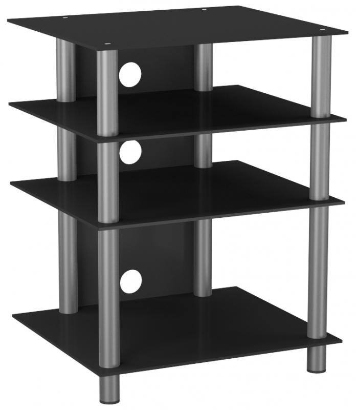 vcm bilus hifi rack regal tisch alu glas schwarzglas tv. Black Bedroom Furniture Sets. Home Design Ideas