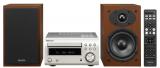 Denon D-M41DAB Premium Silber mit kirchbaumfarbenen Holz-Lautsprechern Minisystem mit Bluetooth