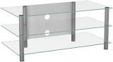 VCM Zumbo TV Rack LED Tisch Alu Glas Klarglas