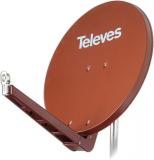 Televes S85QSD-Z OSD-Line Offset Reflektor BxH 85x95cm, Feedarm klappbar, TÜV geprüft, Farbe: Ziegelrot (RAL8012)